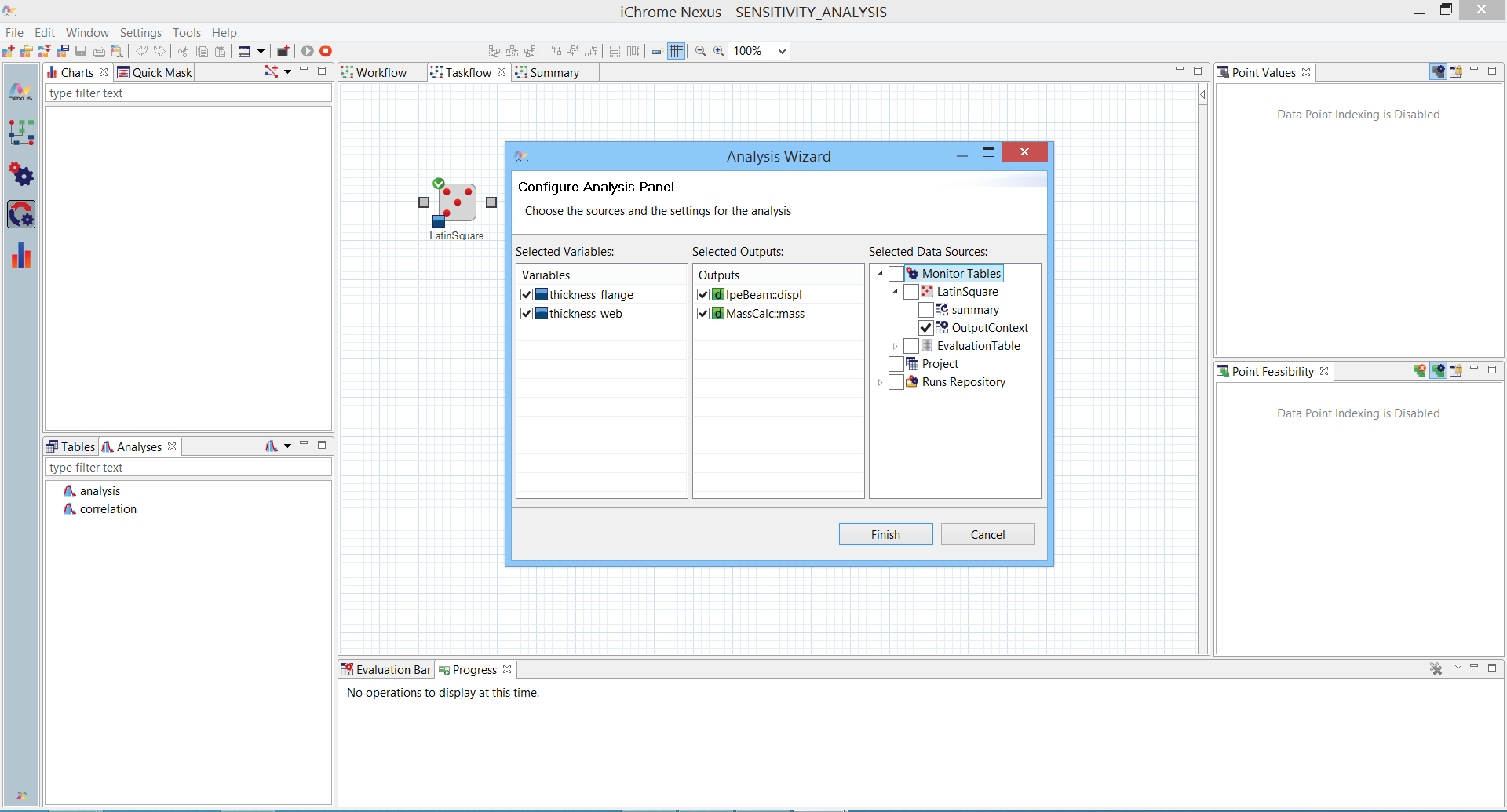 Correlation analysis tool in Nexus Design Explorer