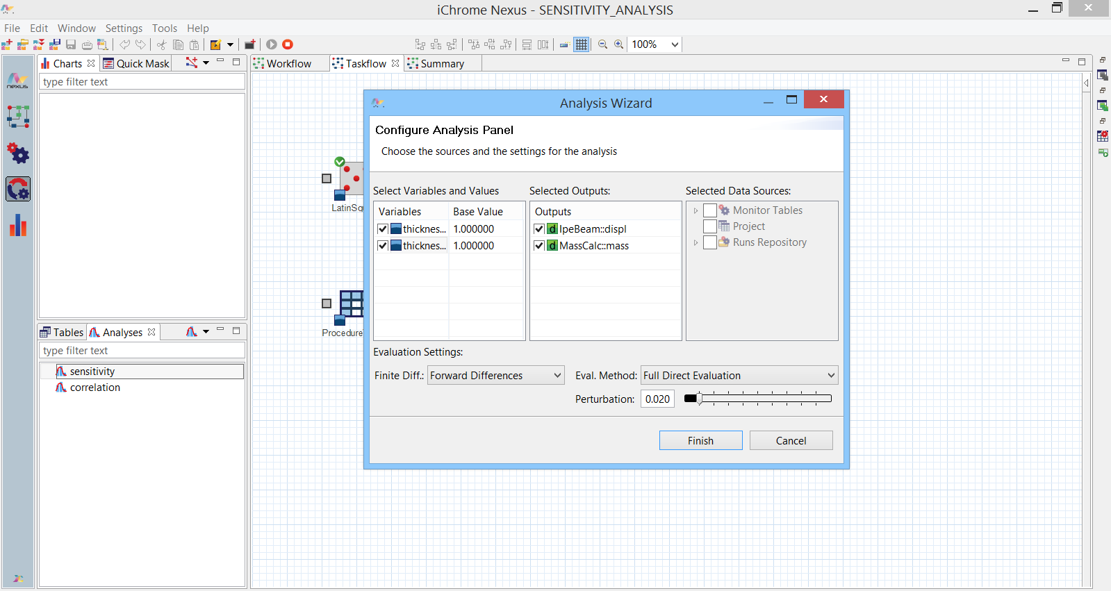 Sensitivity analysis tool in Nexus Design Explorer